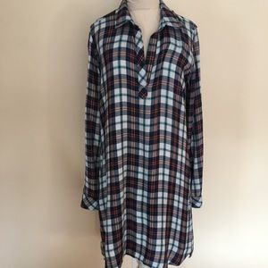 Cloth and stone plaid shirt dress